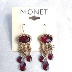 Monet red and gold chandeliers earrings